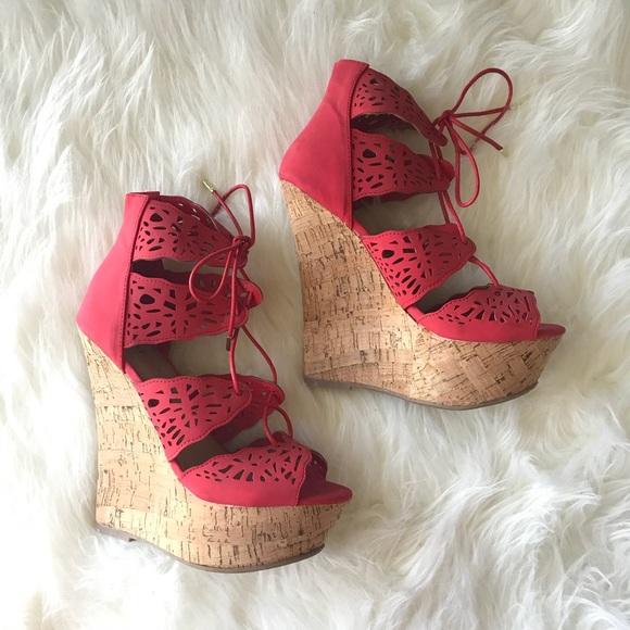 JustFab Shoes - JustFab Lace Up Wedges 😍